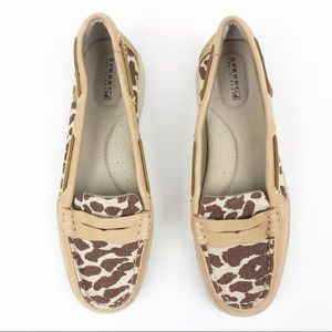 Sperry Animal Print Gold Strap Slip On Loafer Flat